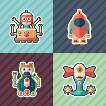 Ruimte robots stickers set.