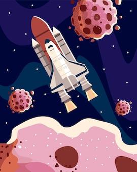 Ruimte ruimteschip ruimteschip met asteroïden sterrenhemel scène illustratie