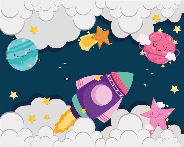 Ruimte ruimteschip vallende ster planeten wolken hemel avontuur leuke cartoon