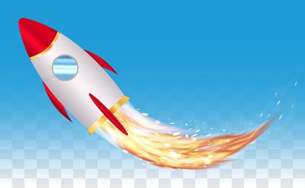 Ruimte speelgoed raket vector met echte raket vuur