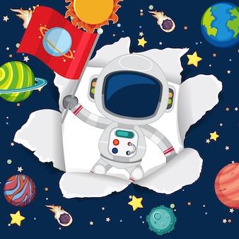 Ruimte thema achtergrond met astronaut in de ruimte