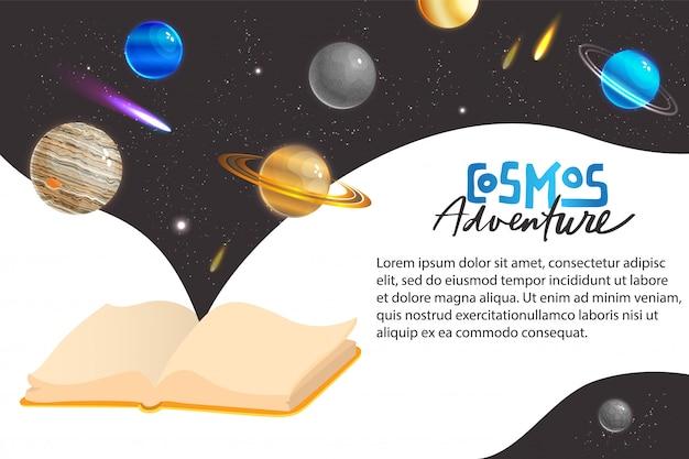 Ruimte universum avontuur concept illustratie. cartoon platte fantasie melkweg kosmische ruimte virtuele wereld met planeet satelliet komeet meteoor of ster, ontdekkingsreiziger avonturier ruimtewandeling in kosmos banner
