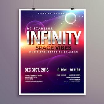 Ruimte universum stijl muziek flyer sjabloon met datum evenement