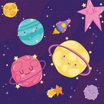 Ruimte vallende ster planeten ruimteschip verkennen avontuur schattige cartoon