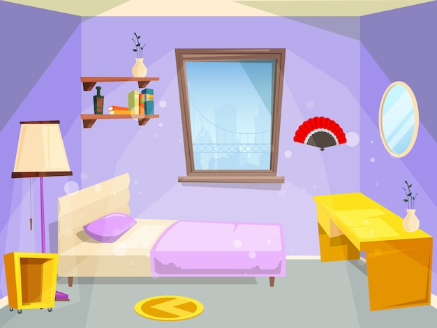 Ruimte voor meisje. huis slaapkamer voor meisje kind kinderen cartoon appartement