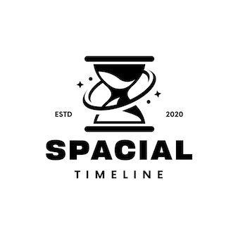 Ruimte zandloper tijd zwart logo