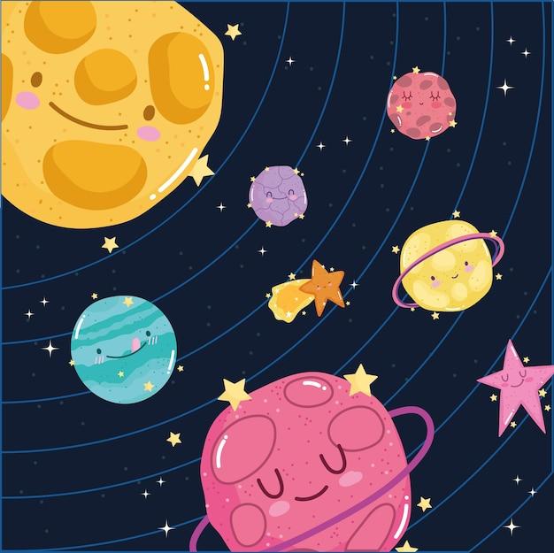 Ruimte zonnestelsel planeten zon ster melkweg avontuur leuke cartoon