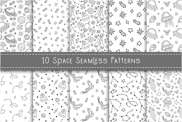 Ruimte zwart-wit doodle naadloze patroon bundel - hand getekend digitaal papier met ruimte, sterren, ruimteschip, raket, ufo, hemelse kinderen naadloze achtergrond voor textiel, scrapbooking, inpakpapier