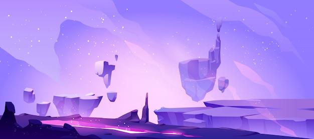 Ruimteachtergrond met landschap van vreemde planeet
