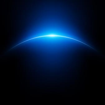 Ruimteachtergrond met planeet en stralend licht.