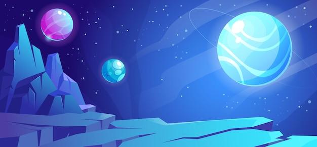 Ruimteachtergrond met planeetlandschap
