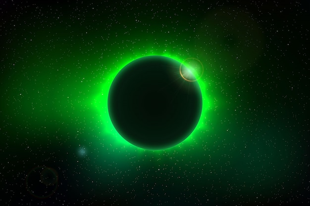Ruimteachtergrond met totale zonneverduistering voor uw ontwerp