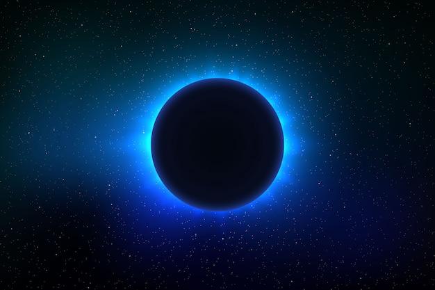 Ruimteachtergrond met totale zonsverduistering