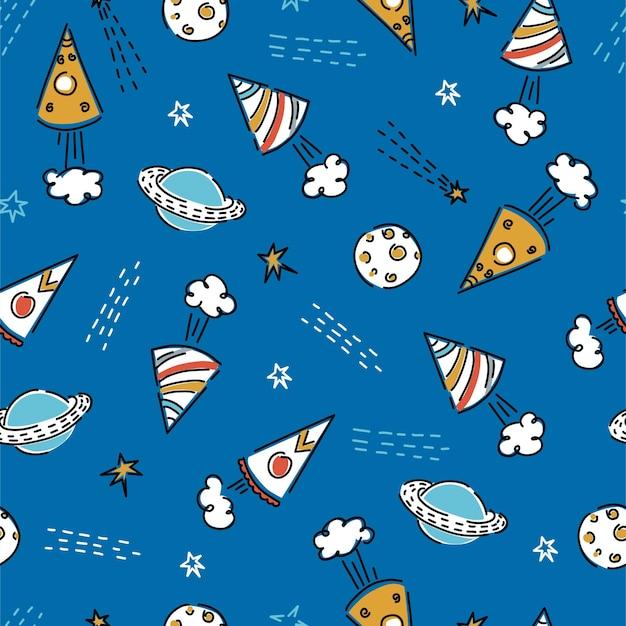 Ruimteachtergrond voor kinderen met raketten, planeten, sterren. leuke print voor kleding, behang, decor. vectorachtergrond.