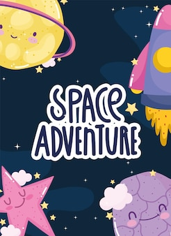 Ruimteavontuur lancering ruimteschip verken planeten ster schattige cartoon