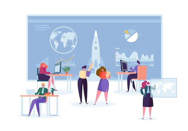 Ruimtebewaking voor raketlancering. corporate startup worker character start project boost technology.