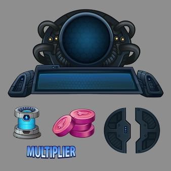 Ruimtecomputer en pictogrammen voor spel