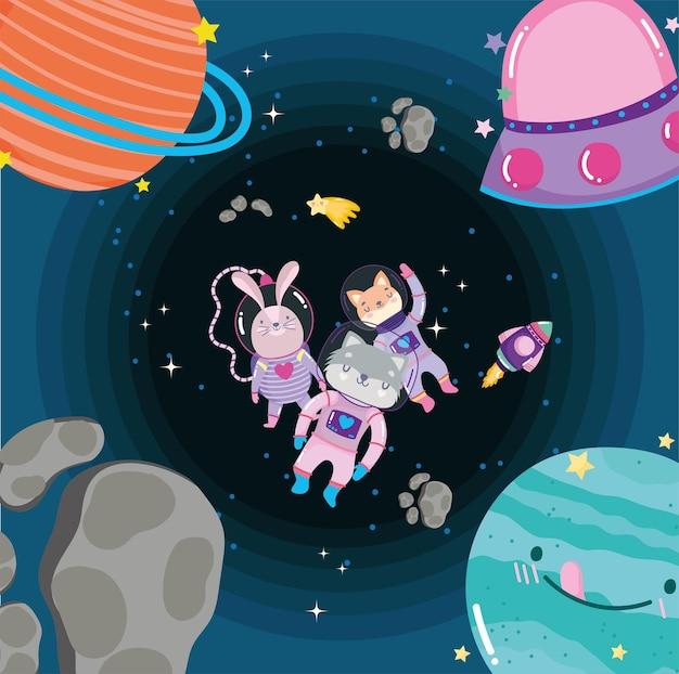 Ruimtedieren in ruimtepak en planetenavontuur verkennen cartoonillustratie