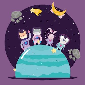 Ruimtedieren in ruimtepak op planeetavontuur verkennen cartoonillustratie