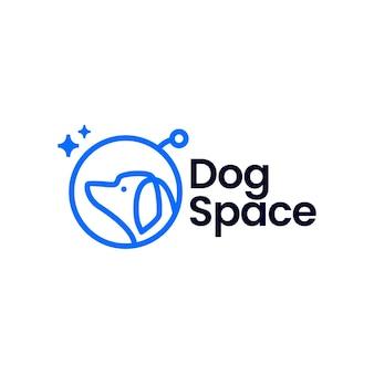 Ruimtehond astronaut monoline logo sjabloon