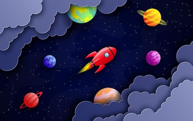 Ruimtekaart in papier gesneden stijl raket vliegt in de ruimte tussen wolken, sterren en planeten