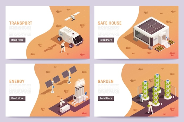 Ruimtekolonisatie isometrische banners geplaatst illustratie