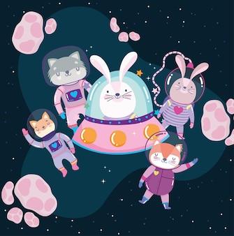 Ruimtekonijn in ufo met avontuur van astronautendieren onderzoekt cartoonillustratie