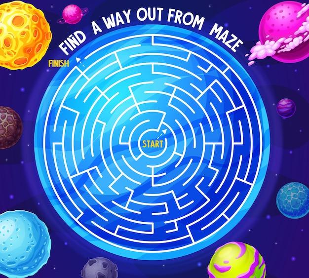 Ruimtelabyrint-doolhofspel met planeten en melkweg. bordspel voor kinderen met meteoren in de diepe kosmos. bordspel met verward pad in de ruimte, start en finish. raadsel met kosmische fantasiewereld voor baby