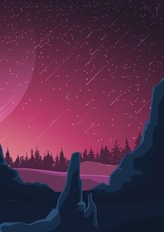 Ruimtelandschap in purpere tonen