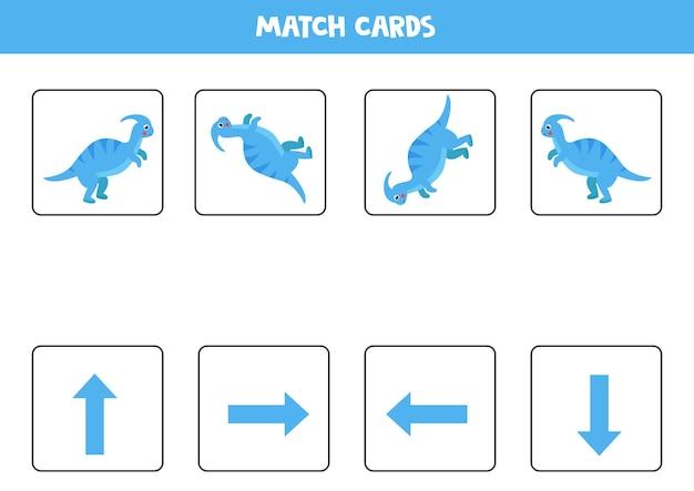 Ruimtelijke oriëntatie met schattige dinosaurus. links, rechts, omhoog of omlaag. educatief spel.