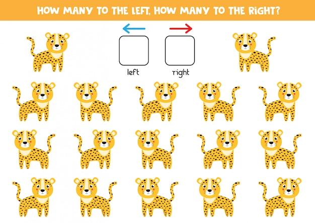 Ruimtelijke oriëntatie voor kinderen. schattige cartoon luipaard.