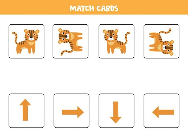 Ruimtelijke oriëntatie voor kinderen. schattige cartoon tijger in verschillende oriëntatie.