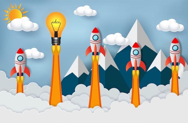 Ruimtependel en lamp die voor succes concurreren