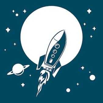 Ruimteraket die in ruimte met sterren en planeten vliegt. vectorillustratie