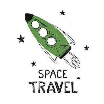 Ruimteraket getekend met de woorden space travel