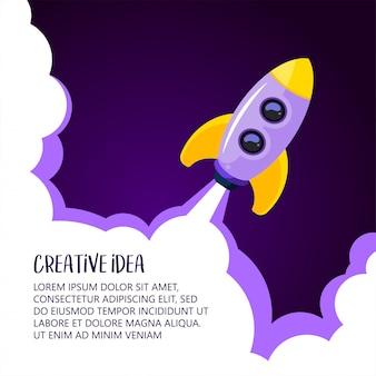 Ruimteraketlancering. creatief idee, raketachtergrond, vectorillustratie