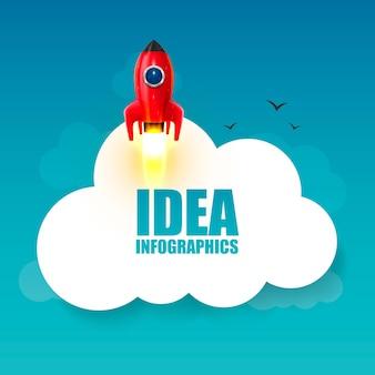 Ruimteraketlancering, creatief idee voor opstarten, raketachtergrond, vectorillustratie