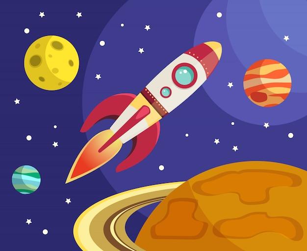 Ruimteraketschip die in ruimte met planeten en sterren vectorillustratie vliegen