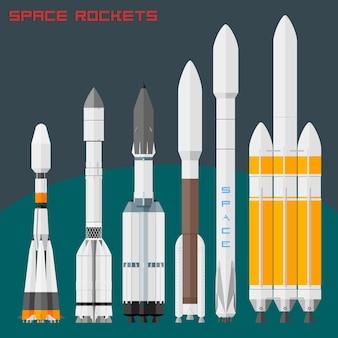 Ruimteraketten ingesteld. vergelijkende grootte vracht en universele raketten in de wereld. vector illustratie