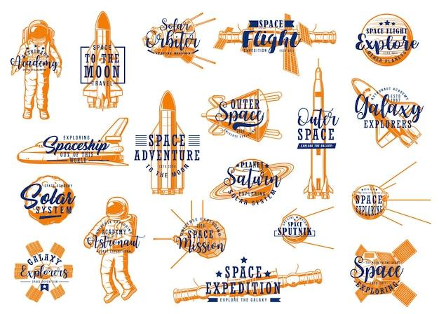 Ruimteraketten, spaceman galaxy expeditie iconen