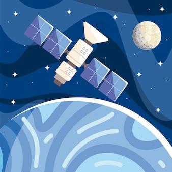 Ruimtesatelliet in een baan om de planeetmaan in de sterrenhemel, de illustratie van de kosmosverkenning