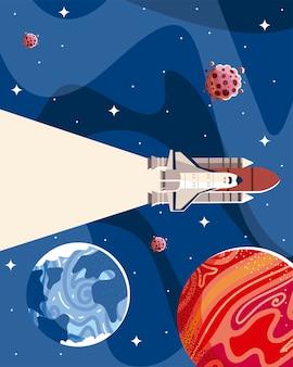 Ruimtescène met ruimteschipplaneten, sterren en melkwegstelsels in buitenverkenningsillustratie