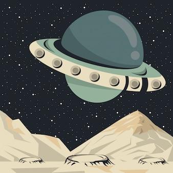 Ruimtescèneaffiche met ufo het vliegen