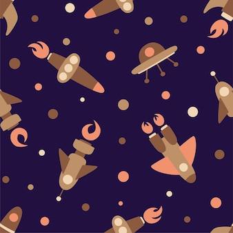 Ruimteschepen op een naadloos patroon. raketten op de achtergrond van een donkere kosmische hemel.