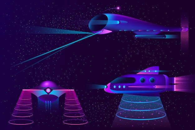 Ruimteschepen ufo en vliegtuigen