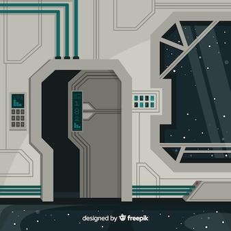 Ruimteschip binnenlandse achtergrond met vlak ontwerp