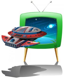 Ruimteschip dat in de ruimte op tv vliegt