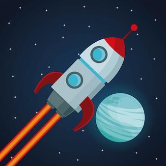 Ruimteschip en bekijk de planeet van neptunus