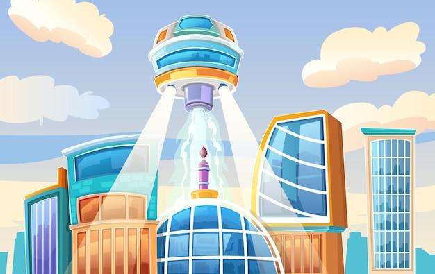 Ruimteschip en stad, moderne fantastische illustratie.