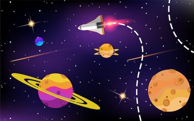 Ruimteschip in de ruimte met sterren